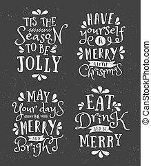 ontwerpen, colle, typografisch, kerstmis