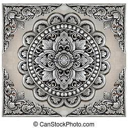 ontwerpen, communie, frame, ouderwetse , ornament, floral, zilver