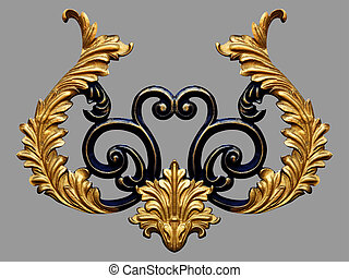 ontwerpen, communie, goud, ouderwetse , ornament, floral