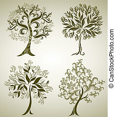 ontwerpen, decoratief, boompje