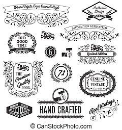 ontwerpen, etiketten, retro, calligraphic