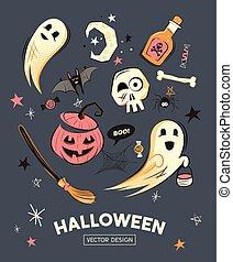 ontwerpen, halloween, retro, vrolijke