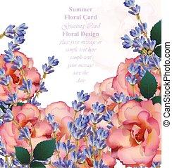 ontwerpen, romantische, rozen, groet, illustratie, lavendel, achtergrond., vector, uitnodiging, bloemen, kaart
