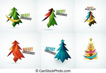 ontwerpen, set, boompje, geometrisch, kerstmis