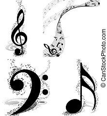 ontwerpen, set, muzikalisch