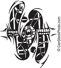 ontwerpen, vector, -, biomechanical, illustratie