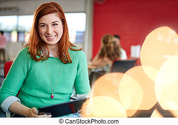 ontwerper, aan het werk werkkring, ruimte, tablet, creatief, zeker, vrouwlijk, digitale , rood