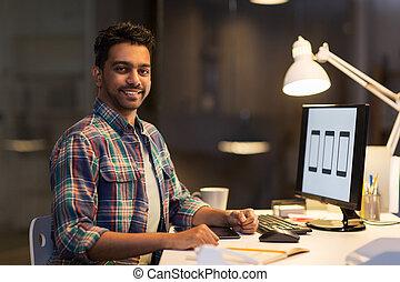 ontwerper, computer, aan het werk werkkring, nacht