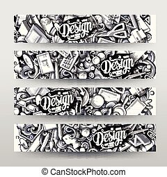 ontwerper, getrokken, hand, monochroom, vector, ontwerp, grafiek, kaarten, doodles, spotprent, identificatie