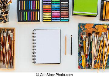ontwerper, kunstenaar, equipment., tekening, studio,...