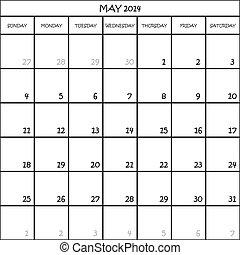 ontwerper, mei, maand, achtergrond, 2014, kalender,...