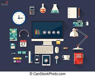 ontwerper, vector, des, illustratie