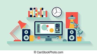 ontwerper, werkruimte, kantoor