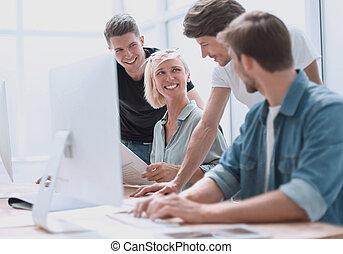 ontwerpers, plan, nieuw, werkende , afsluiten, groep, professioneel, boven.
