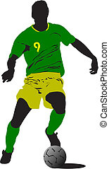 ontwerpers, players., gekleurde, illustratie, vector, voetbal