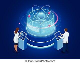 ontwikkeling, anders, wisselwerking, technology., nucleair, isometric, illustratie, vector, nucleair, studies., of