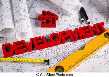 ontwikkeling, architectuur, bouwschets