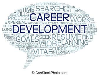 ontwikkeling, carrière, label, woord, wolk