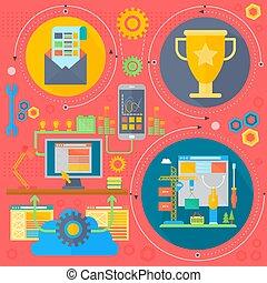 ontwikkeling, cirkels, concept, communie, illustration., iconen, poster, optimization, vector, ontwerp, web, mal, infographics, seo, spandoek, ontwerp