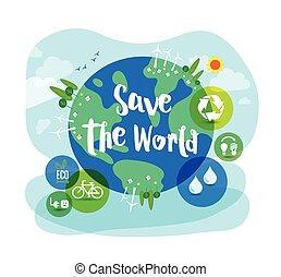 ontwikkeling, concept, illustratie, duurzaam, wereld, sparen