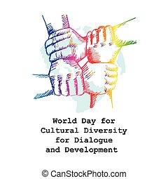 ontwikkeling, dialoog, verscheidenheid, cultureel, wereld, dag