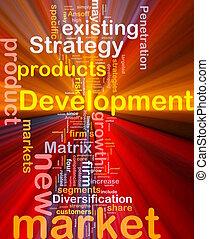 ontwikkeling, gloeiend, concept, markt, achtergrond