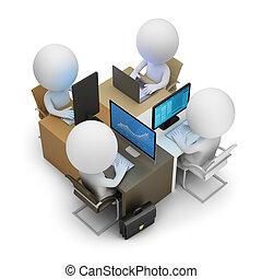 ontwikkeling, mensen, -, team, kleine, 3d