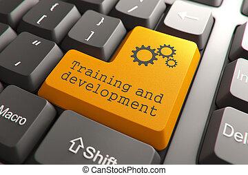 ontwikkeling, opleiding, button., toetsenbord