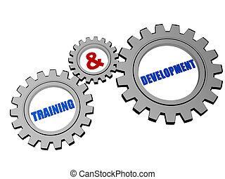 ontwikkeling, opleiding, &, grijze , toestellen, zilver
