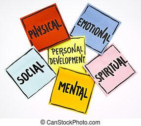 ontwikkeling, persoonlijk, opmerkingen, concept, kleverig