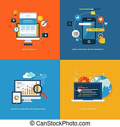 ontwikkeling, plat, iconen, web