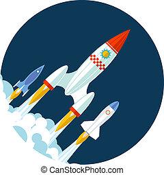 ontwikkeling, plat, raketlancering, symbool, moderne, op, ...
