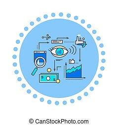 ontwikkeling, plat, stijl, ontwerp, visie, pictogram