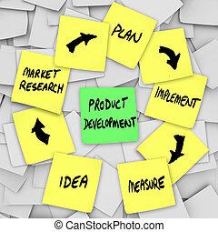 ontwikkeling, product, opmerkingen, kleverig, diagram, plan