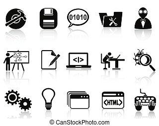 ontwikkeling, programma, set, iconen