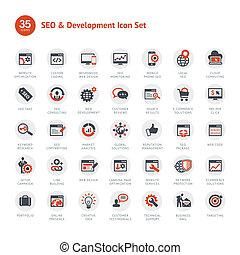 ontwikkeling, seo, set, iconen