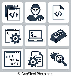 ontwikkeling, set, iconen, programmering, vector, software
