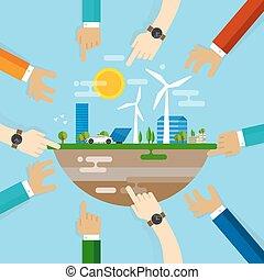 ontwikkeling, stad, het regelen, samenwerking, samen, eco, livable, planning, gemeenschap, duurzaam, wereld, vriendelijk