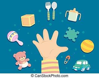 ontwikkeling, toddler, intellectueel, illustratie, hand