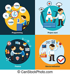 ontwikkeling, web, banieren, concept, programmering