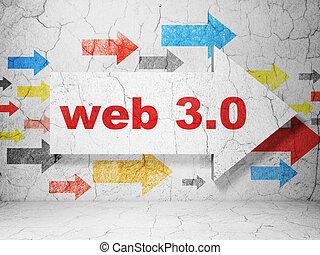 ontwikkeling, web, grunge, 3.0, muur, richtingwijzer, achtergrond, concept: