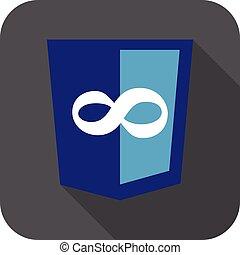 ontwikkeling, web, infinity., schild, -, vrijstaand, vector, meldingsbord, code, redacteur, witte , pictogram