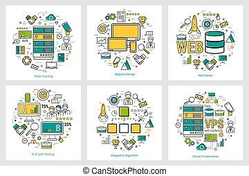ontwikkeling, web, lineair, -, concepten, ronde