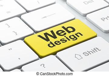 ontwikkeling, web, woord, render, toetsenbord, knoop, geselecteerde, brandpunt, achtergrond, binnengaan, seo, computer, ontwerp, concept:, 3d
