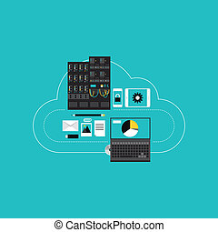 ontwikkeling, wolk, hosting, zakelijk, gegevensverwerking