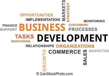 ontwikkeling, woord, -, wolk, zakelijk