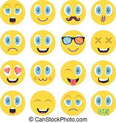 ontzagwekkend, vector, emoticons, set