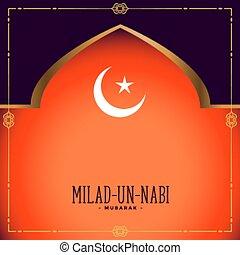 onu, cartão, festival, nabi, desenho, milad, eid, islamic