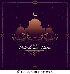 onu, festival, nabi, desenho, milad, islamic, cartão ...