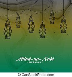 onu, festival, nabi, saudação, desenho, milad, eid,...